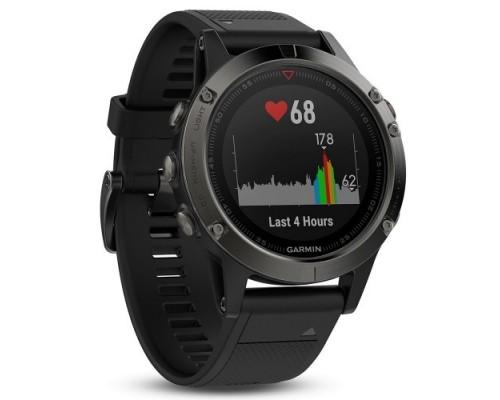 Умные часы Garmin Fenix 5 серые с черным ремешком