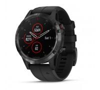 Умные часы Garmin Fenix 5 Plus Sapphire черные с черным ремешком