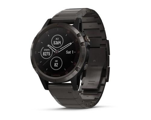 Умные часы Garmin Fenix 5 Plus Sapphire титановые серый DLC с титановым DLC ремешком