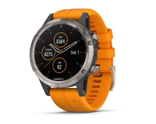 Умные часы Garmin Fenix 5 Plus Sapphire титановые с оранжевым ремешком