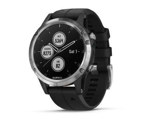 Умные часы Garmin Fenix 5 Plus серебристые с черным ремешком