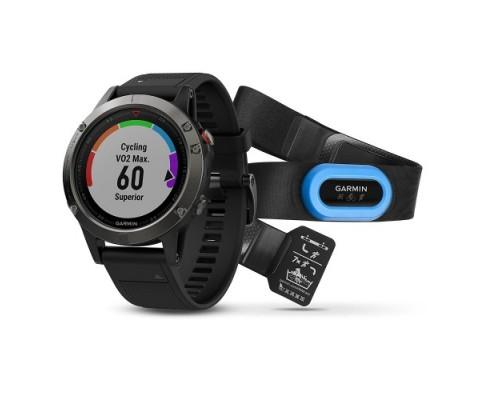 Умные часы Garmin Fenix 5 HRM серые с черным ремешком и пульсометром
