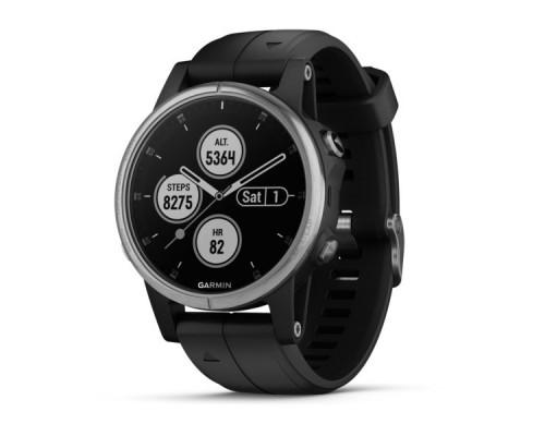 Умные часы Garmin Fenix 5s Plus черные с черным ремешком