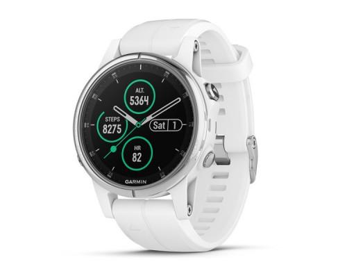 Умные часы Garmin Fenix 5s Plus Sapphire белые с белым ремешком