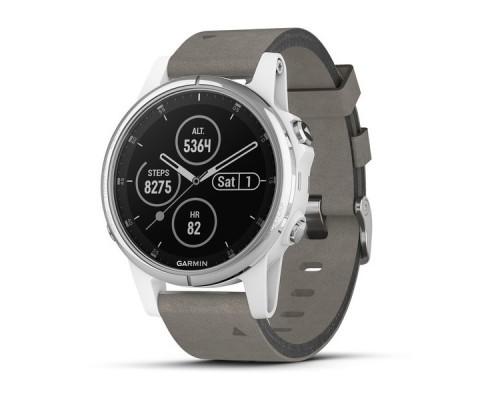 Умные часы Garmin Fenix 5s Plus Sapphire белые с замшевым ремешком