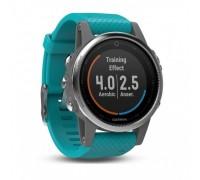 Умные часы Garmin Fenix 5s серебристые с бирюзовым ремешком