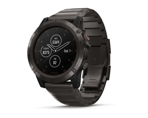 Умные часы Garmin Fenix 5x Plus Sapphire титановые серый DLC с титановым DLC ремешком