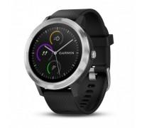 Умные часы Garmin vivoactive 3 серебристые с черным ремешком