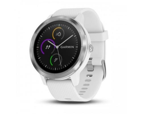 Умные часы Garmin vivoactive 3 серебристые с белым ремешком