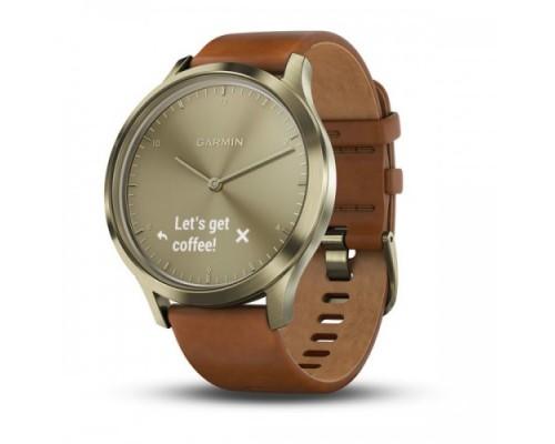 Умные часы Garmin vivomove HR золотые со светло-коричневым кожаным ремешком