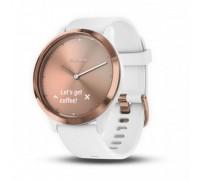 Умные часы Garmin vivomove HR розовое золото с белым ремешком