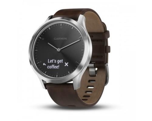Умные часы Garmin vivomove HR серебряные с темно-коричневым кожаным ремешком