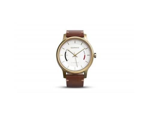Умные часы Garmin vivomove Premium золотистые с кожаным ремешком