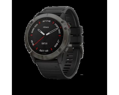 Умные  часы FENIX 6X Sapphire серый DLC с черным ремешком